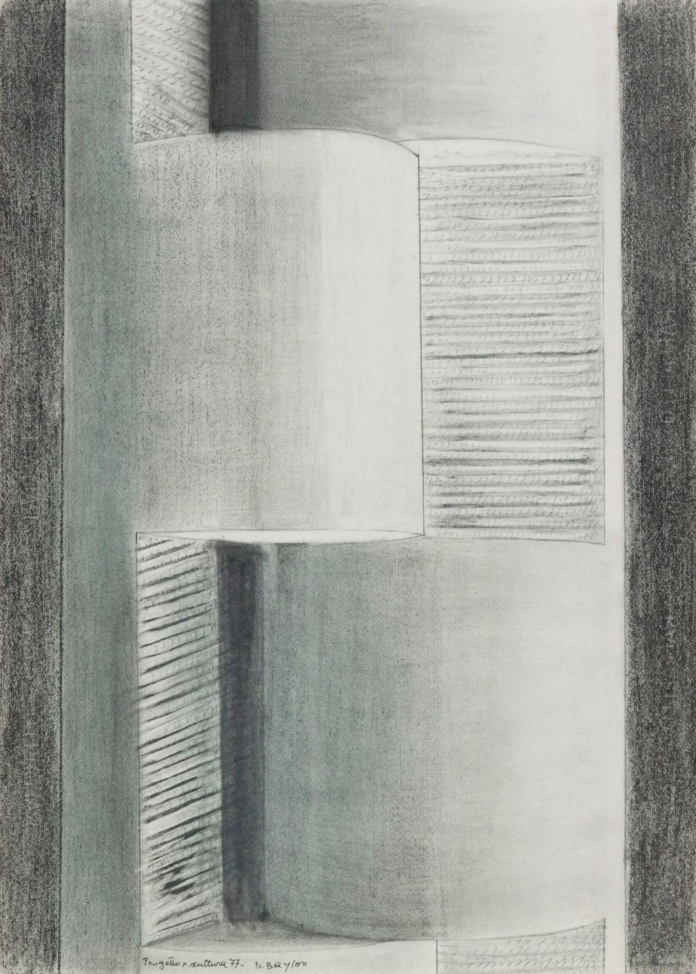 Progetto per scultura, 1977  grafite e gessetto su cartoncino, 66x48 cm Presso il Gabinetto dei Disegni e delle Stampe della Galleria degli Uffizi, cod. 123639