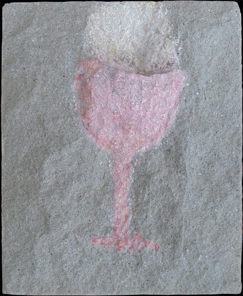 Il calice, 1980  pastello su pietra serena, 18,3x15,2 cm presso la collezione permanente della Galleria Soprana del MIAAO -Museo Internazionale Arti Applicate Oggi, Torino, 2009