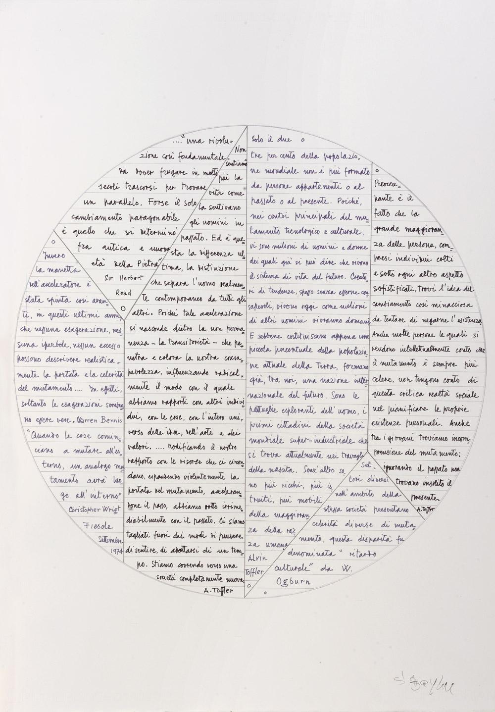 Poesia visiva, sd  pennarello e grafite su carta, 70x50 cm