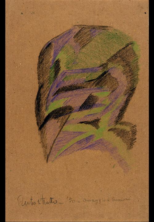 Autoritratto,  Omaggio a Boccioni , 1950  pastello su carta, 35x24 cm