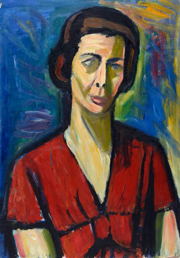Autoritratto, 1956  tempera su carta, 45x34 cm