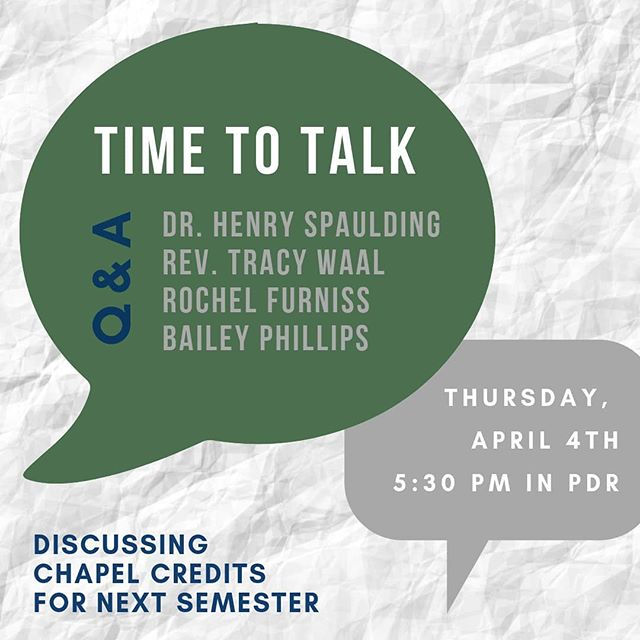 Join us tomorrow at 5:30PM in the President's Dining Room to talk about the changing chapel credits for next semester among other student concerns.