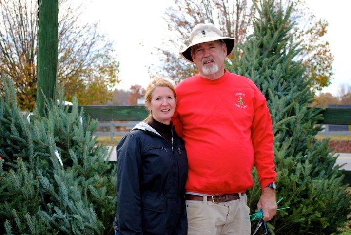 Kathy and John at the Christmas tree farm.