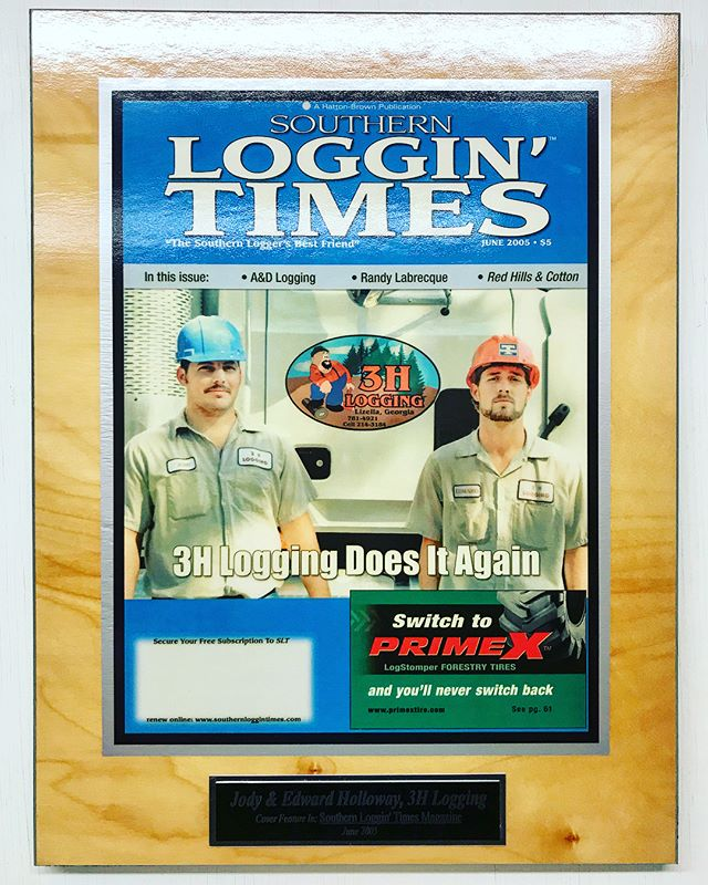 """I had a great time meeting the nice folks at 3H Logging today to talk about USDA grants. A year ago, I didn't know that Southern Loggin' Times existed; now, I should probably take out a full page ad. Also, that boy on the right was a """"hella racer"""" before he settled down. The big trophies from 441 Speedway were in the corner.  ____________________ #forestry #logging #logger #loggers #loggerslife #south #deepsouth #racing #racing🏁 #trophies #trophy #🏆 #Georgia #middlegeorgia"""