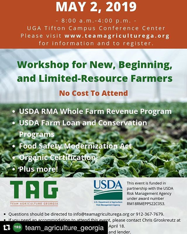 Seven Rivers RC&D and @team_agriculture_georgia are putting on this free workshop for new and beginning farmers to learn about resources from Federal, state, and community-based organizations. Registration is free, but the deadline is Thursday. Repost with @get_repost ・・・ FREE WORKSHOP FOR BEGINNING AND LIMITED-RESOURCE FARMERS!!! May 2 at the UGA Tifton Campus Conference Center. Visit teamagriculturega.org for more information and the registration form.  ___________  #farm #farms #farmer #farmers #farming #ag #agriculture #youngfarmer #youngfarmers #newfarm #beginningfarmers #georgiafarm #tifton #thinktifton #georgiagrown #georgia