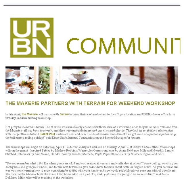 Excited about a mention on the URBN Community blog today! The entire company can barely contain our excitement for the upcoming Sweet Paul Makerie being held at Urban Outfitters HQ and Terrain!! I wish spring would hurry up and get here so we can finally enjoy this beautiful retreat!! #Sweetpaulmakerie #terrainatstyers