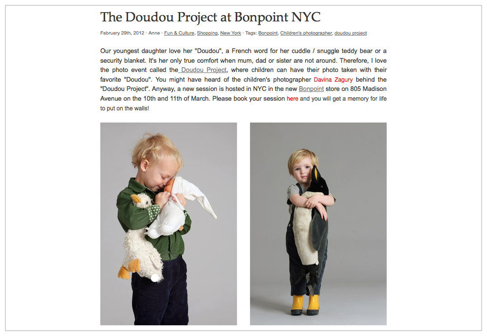 "The ""Doudou"" project - Luvaville.com -  on line magazine, 2012"