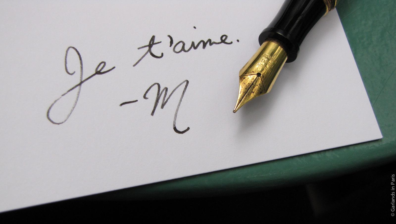 Je t'aime fountain pen love letter