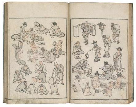 Hokusai Manga. Carnet de croquis divers de Hokusai,Japon, collection particulière