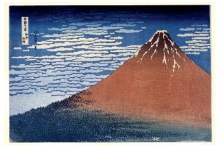 « Vent du sud, ciel clair [le Fuji rouge] »,© The British Museum, Londres, dist. Rmn-Grand palais / TheTrustees of the British Museum