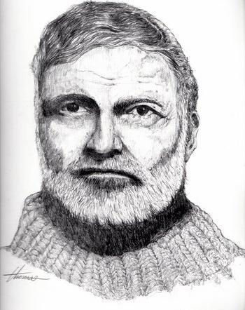 Pencil drawing by Ron Thomas, Papa 2002.