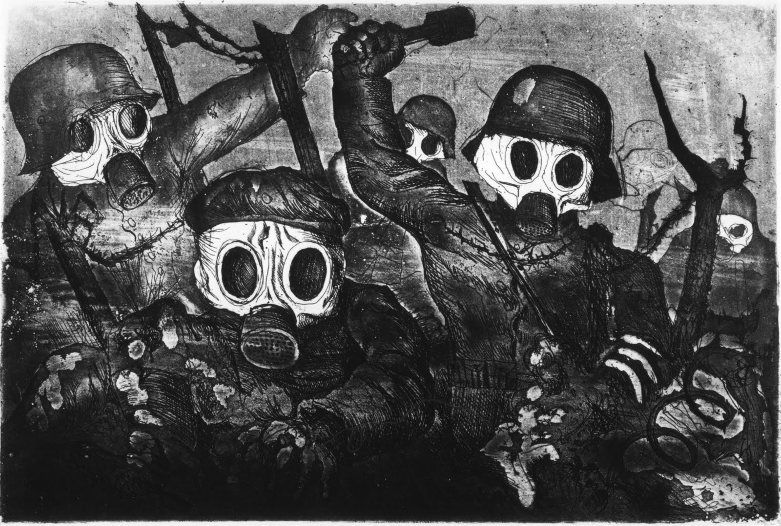 Stormtroopers Advancing Under Gas, part of Der Krieg