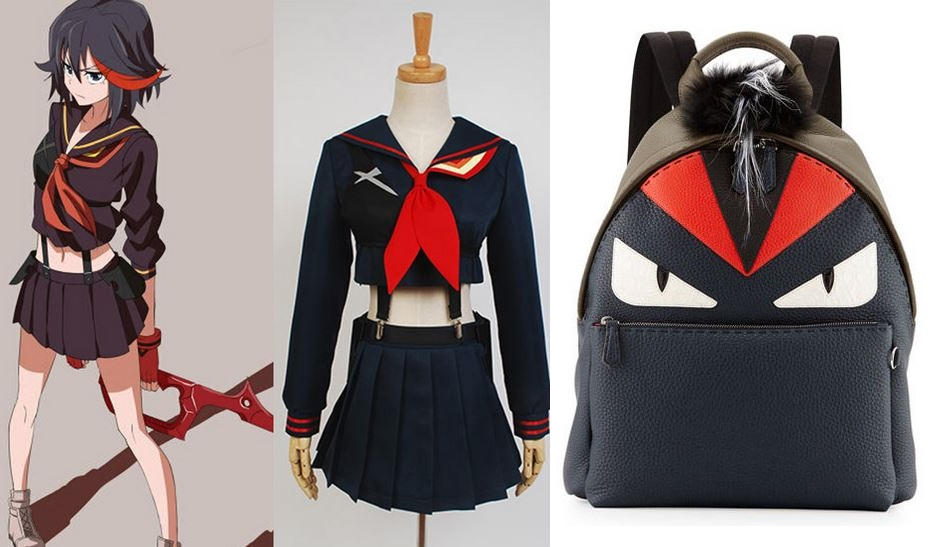 From left to right: Ryuuko, Kill la Kill's protagonist - Cosplay previously  for sale on AliExpress  - Fendi Monster Bag  for sale on their website .