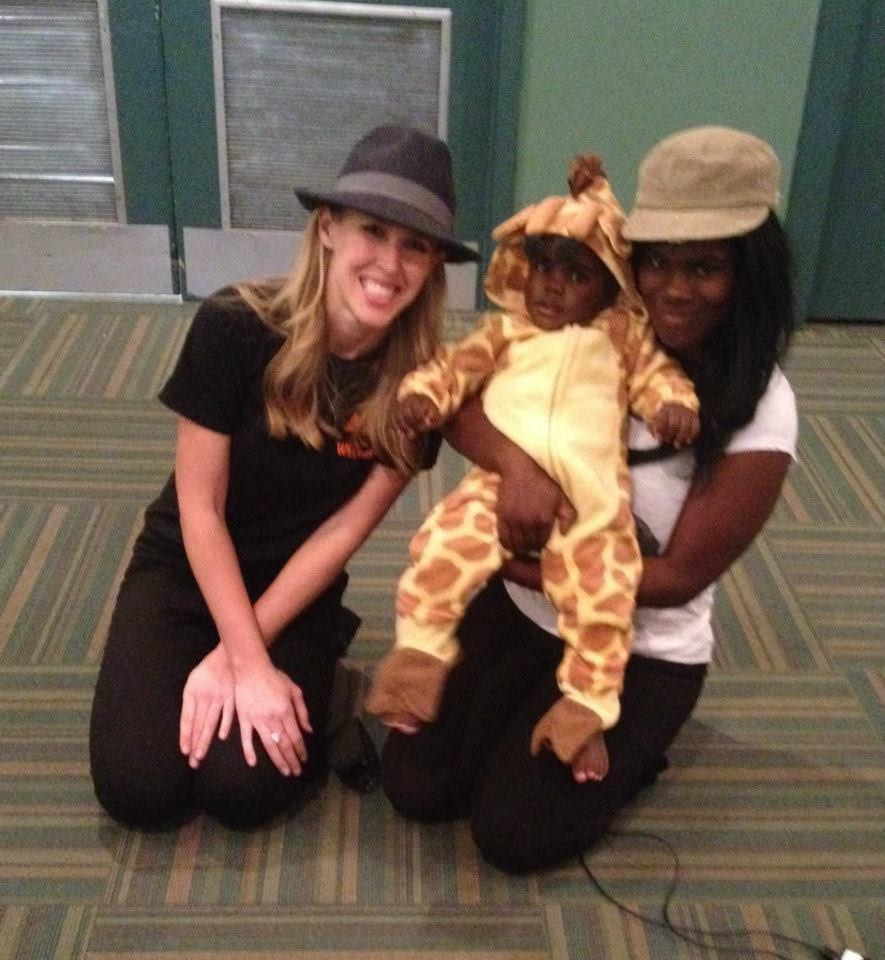 October 23, 2014: 'WEEN DREAM founder, Kelsey, with Covenant House friends Kiara and her too-cute-for-words son, Kanye, in his giraffe costume (not pictured: Kanye's brother who was an adorable shark!)