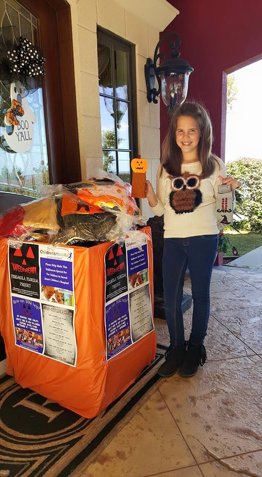 Pensacola, Florida 'WEEN DREAM volunteer Selene Roberts helped collect costumes for kids at Sacred Heart Children's Hospital