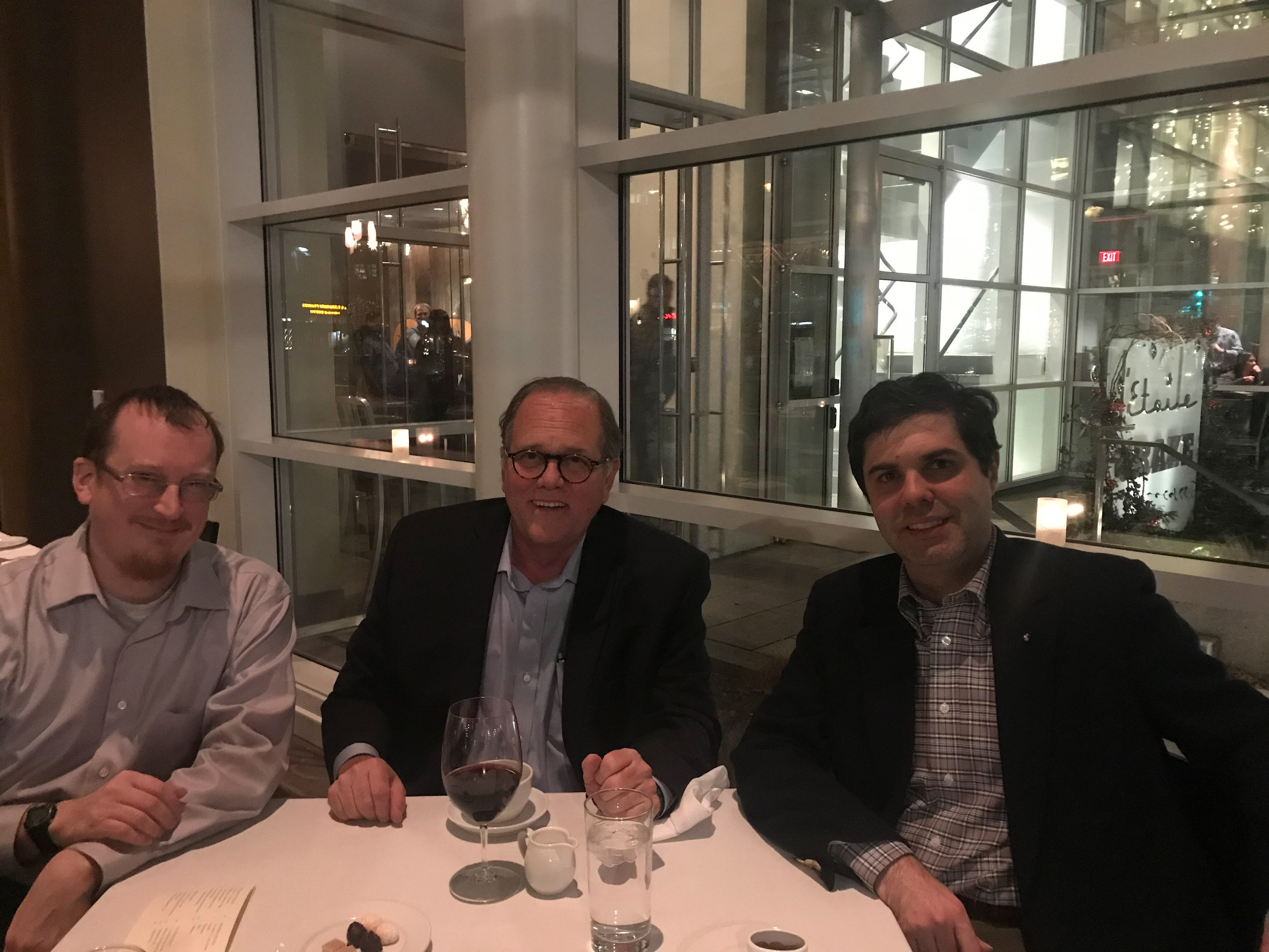 Kevin, Ethan, and Matthew enjoying dinner while on business in Madison, WI, this week