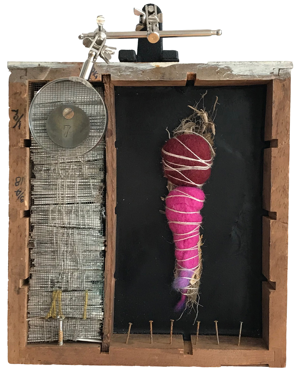 Singing in Defiance of the Rules  Wood, paper, metal, wool, seaweed, encaustic, found objects Robin Howard - 2017