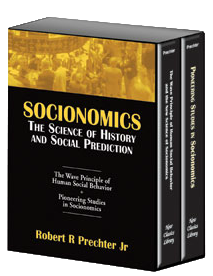 The new science of socionomics takes hundreds of popular notions about mass psychology, culture and the stock market and stands them on their heads.    Click here to read more  about ordering the Socionomics Box Set directly from EWI