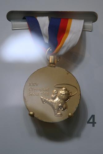 Ms. Limas' Gold Medal on display at the Smithsonian, Washington, DC