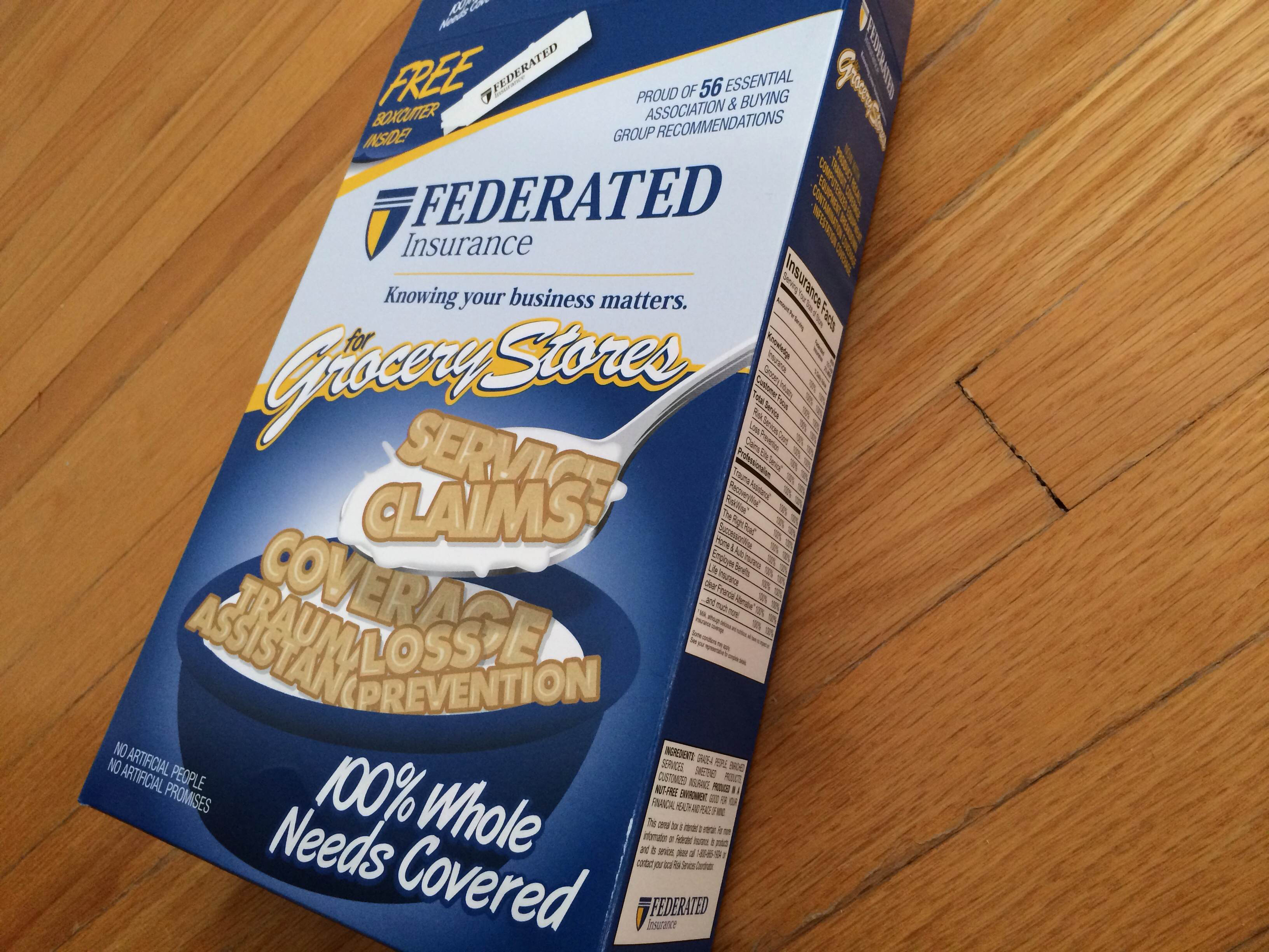 Cereal Box Promotion: Federated Insurance