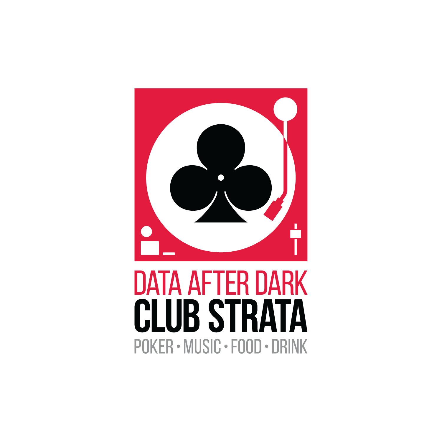 Logo promoting an after-hours DJ/Poker party at Strata Conference.