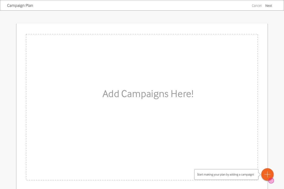 "a canvas UI allows users to add campaigns within a ""sandbox"" environment"