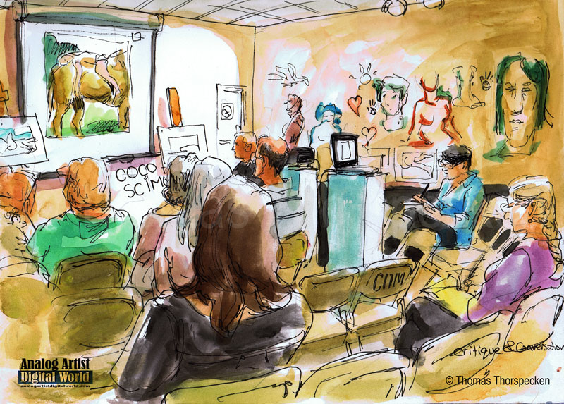 An illustration by  Thomas Thorspecken , an Orlando-based artist, of last month's  Artists' Critique & Conversation at the Art & History Museums-Maitland (I'm the person on the right in a blue shirt taking notes). Photo credit: Thomas Thorspecken