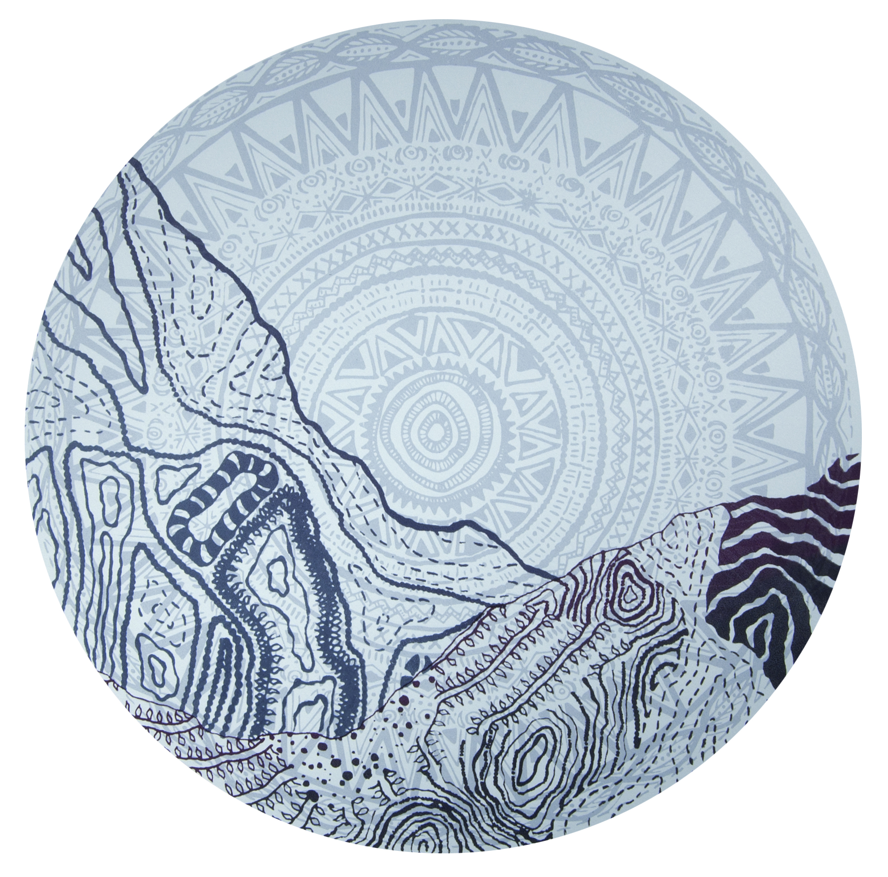 The mountains saved my soul , 14.5 inches diameter, screenprint on paper.