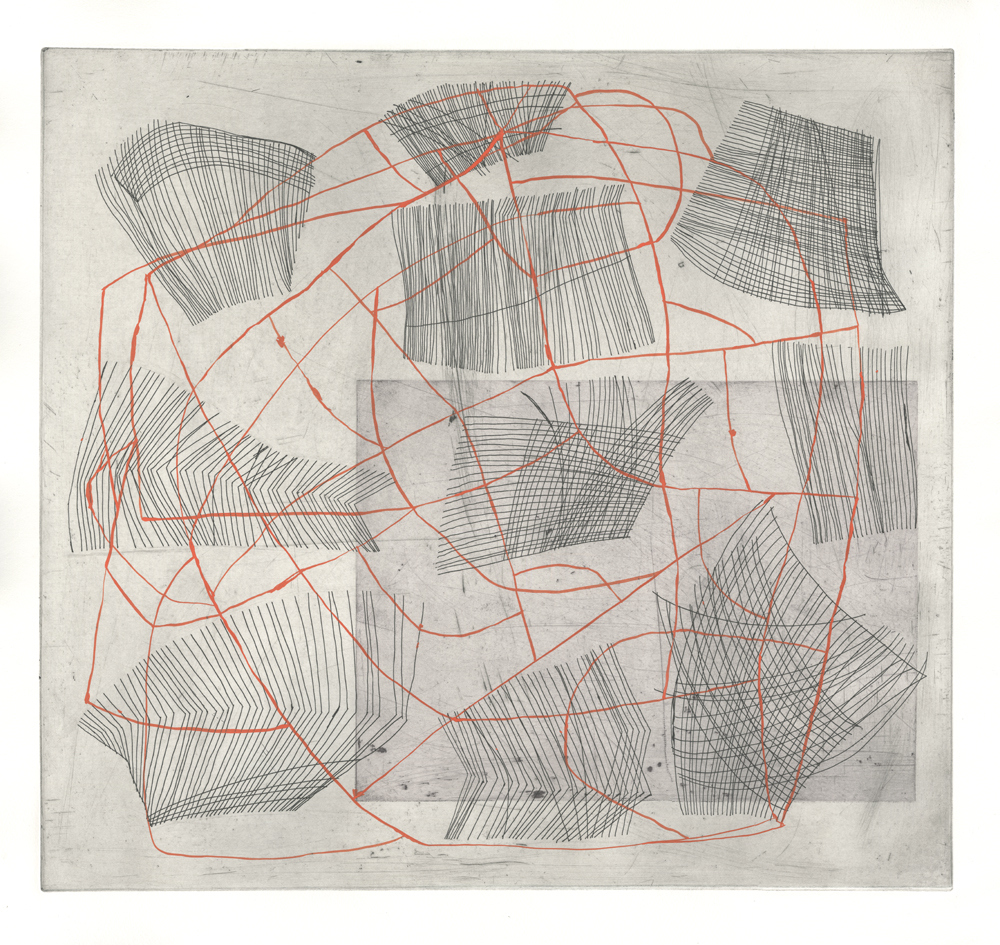 Diana Behl,  Maps (a key),  line etching with gouache/monoprint, 18x19.5 inches