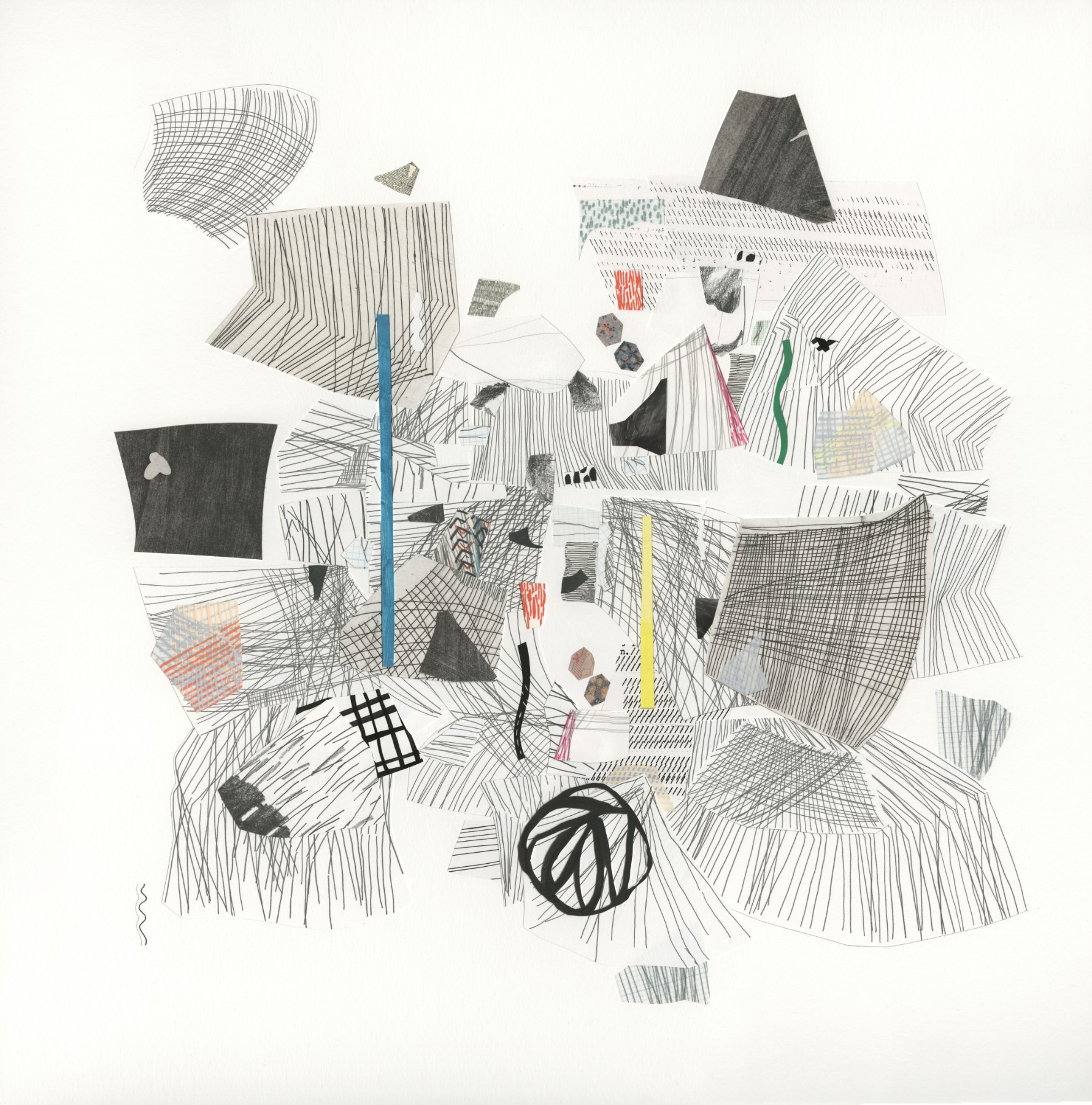 Diana Behl,  and branching,  printed, painted and drawn collage, 22x22 inches