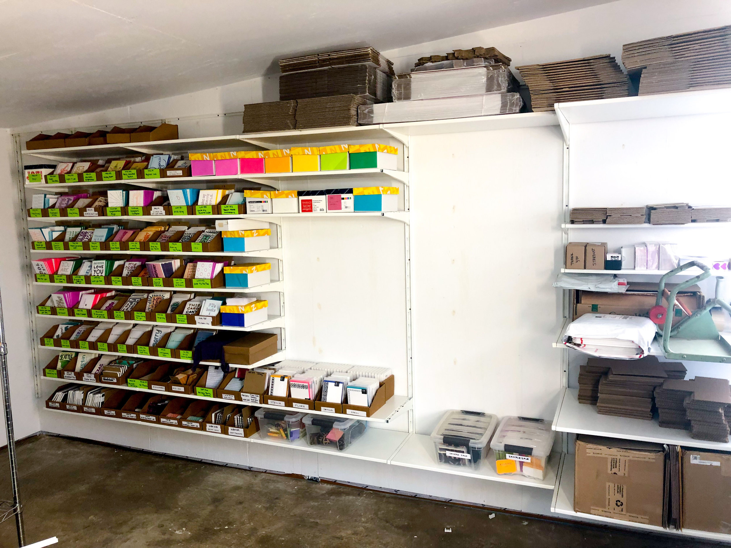Partway through installing inventory shelves and a shipping station!