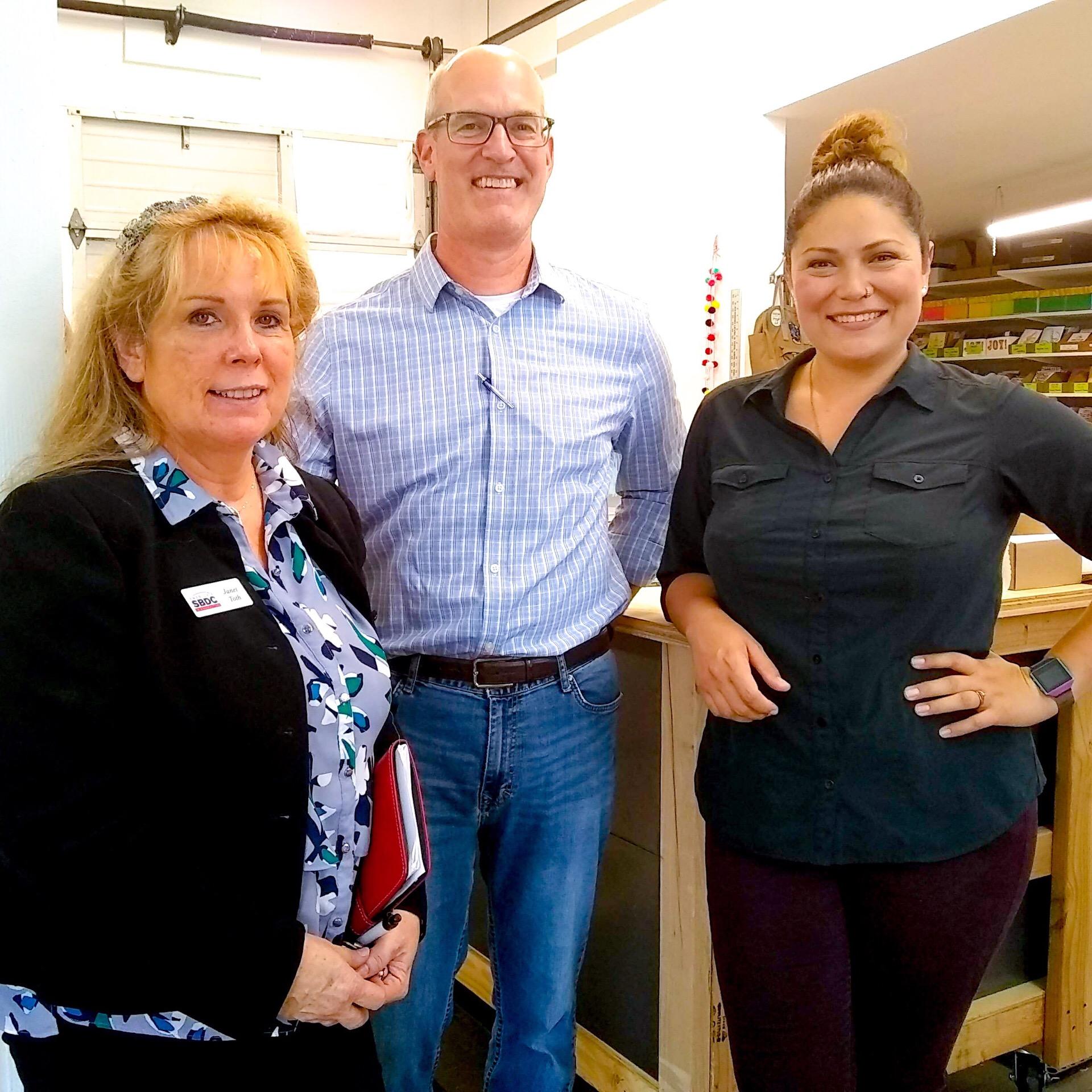 Pictured L-R: Janet Toth (SBDC Business Advisor), U.S. Congressman Rick Larsen (WA State District 2), Cat Snapp