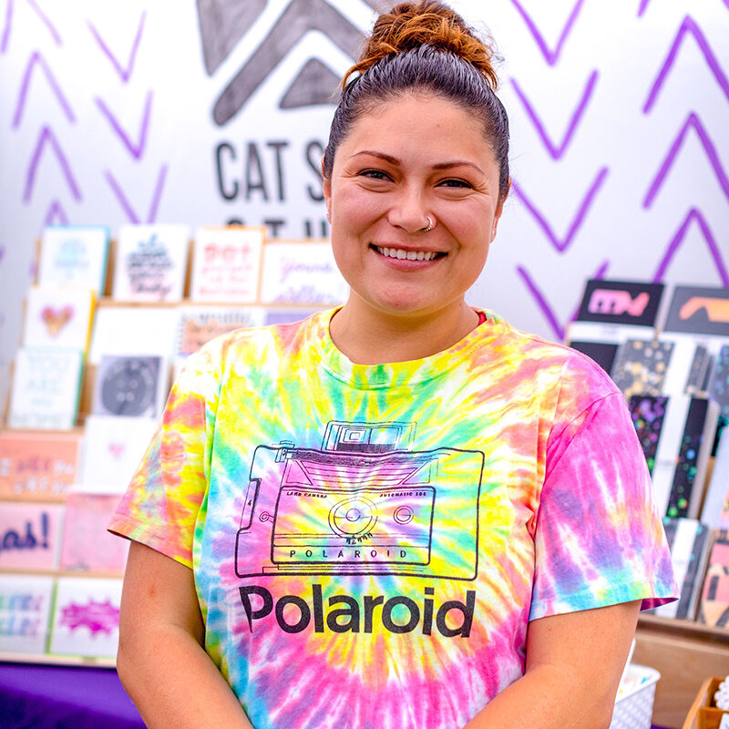 Hi! - I'm Cat Snapp, the creator of Cat Snapp Studio in Everett, WA. I create fun and encouraging paper goods to brighten your day.