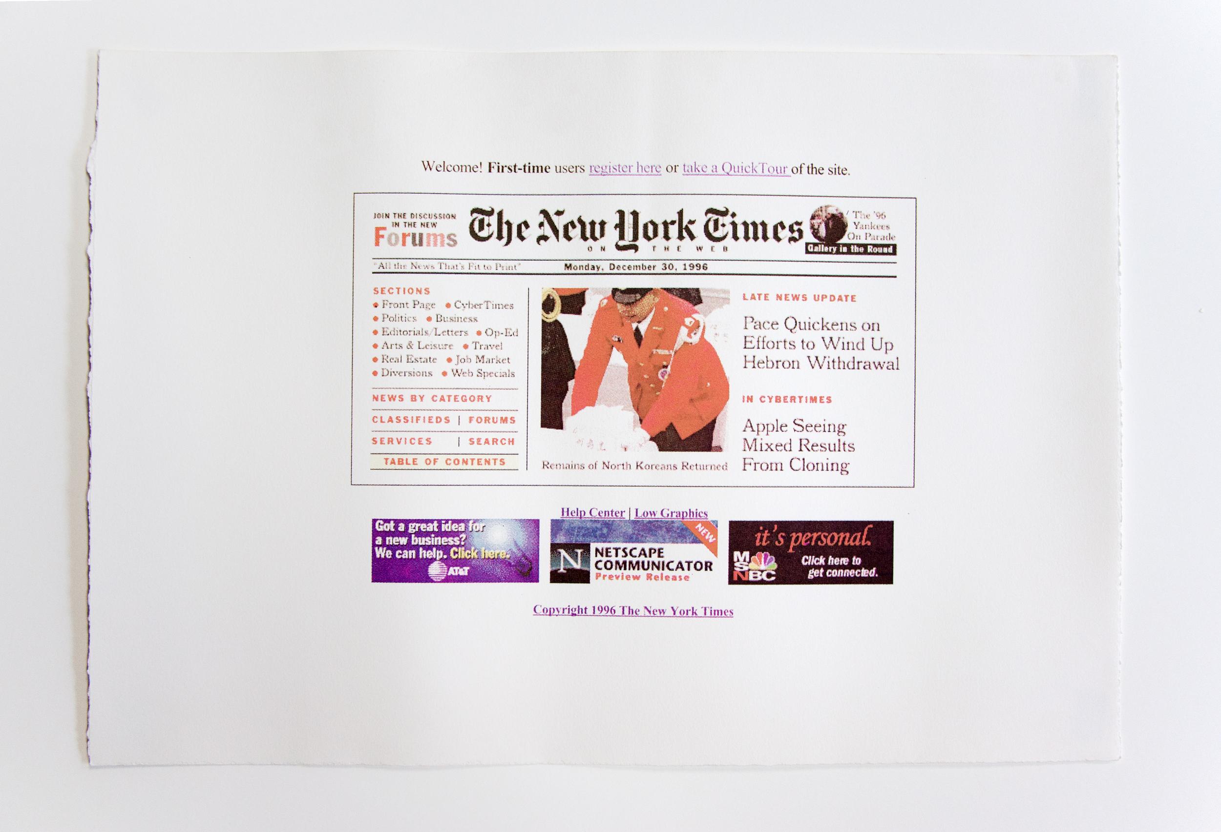 """Nytimes , cmyk screenprint, 18""""x24"""", 2002"""