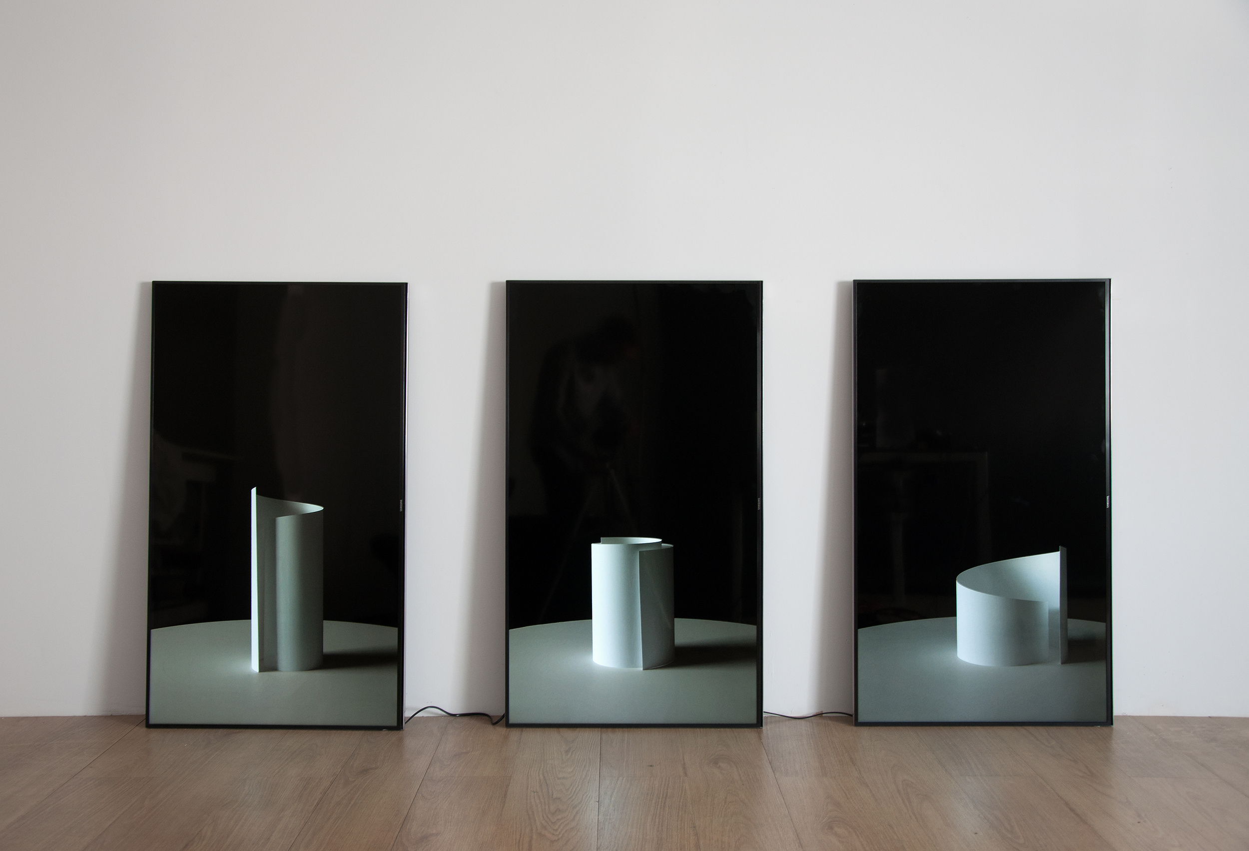 Three Sculptures , archival inkjet photo paper spinning in 3-channel ultra high definition video, 30:00, 2014