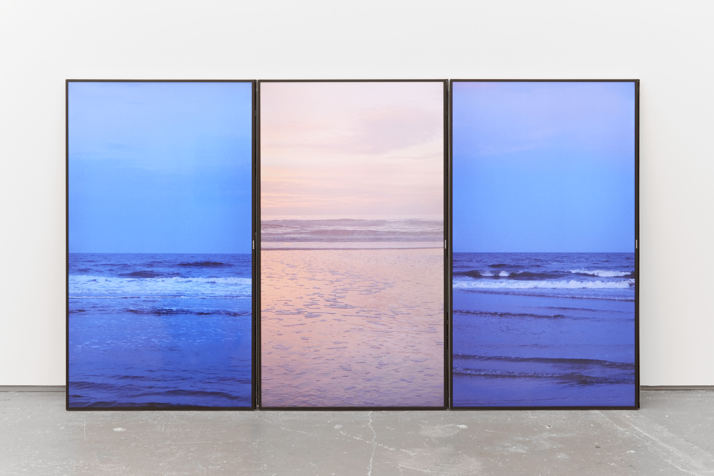 """Set Rise Set , three channel UHD video, continuous loop, 2015 (installation """"Neon Eon""""Kate Werble Gallery)"""