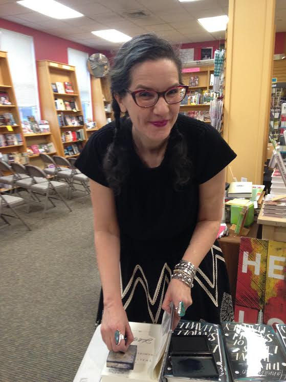 Author Hannah Tinti signing copies of her book  The Twelve Lives of Samuel Hawley