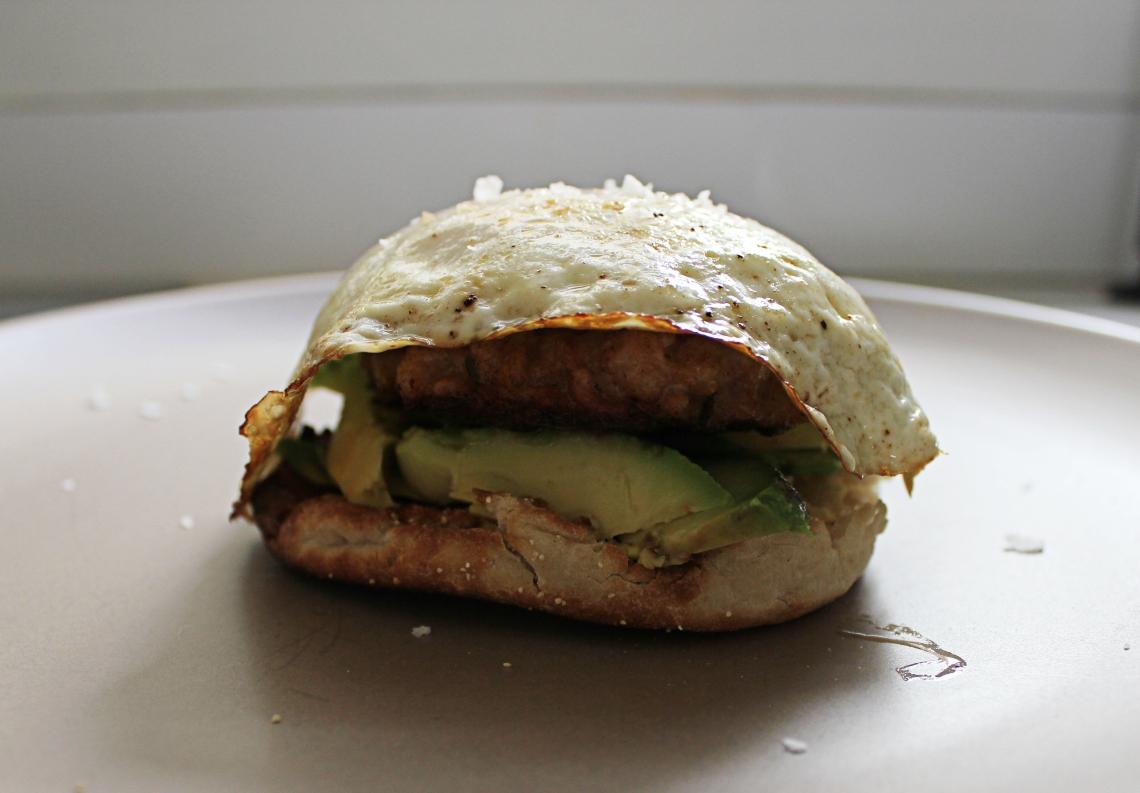 Breakfast sandwich assembled