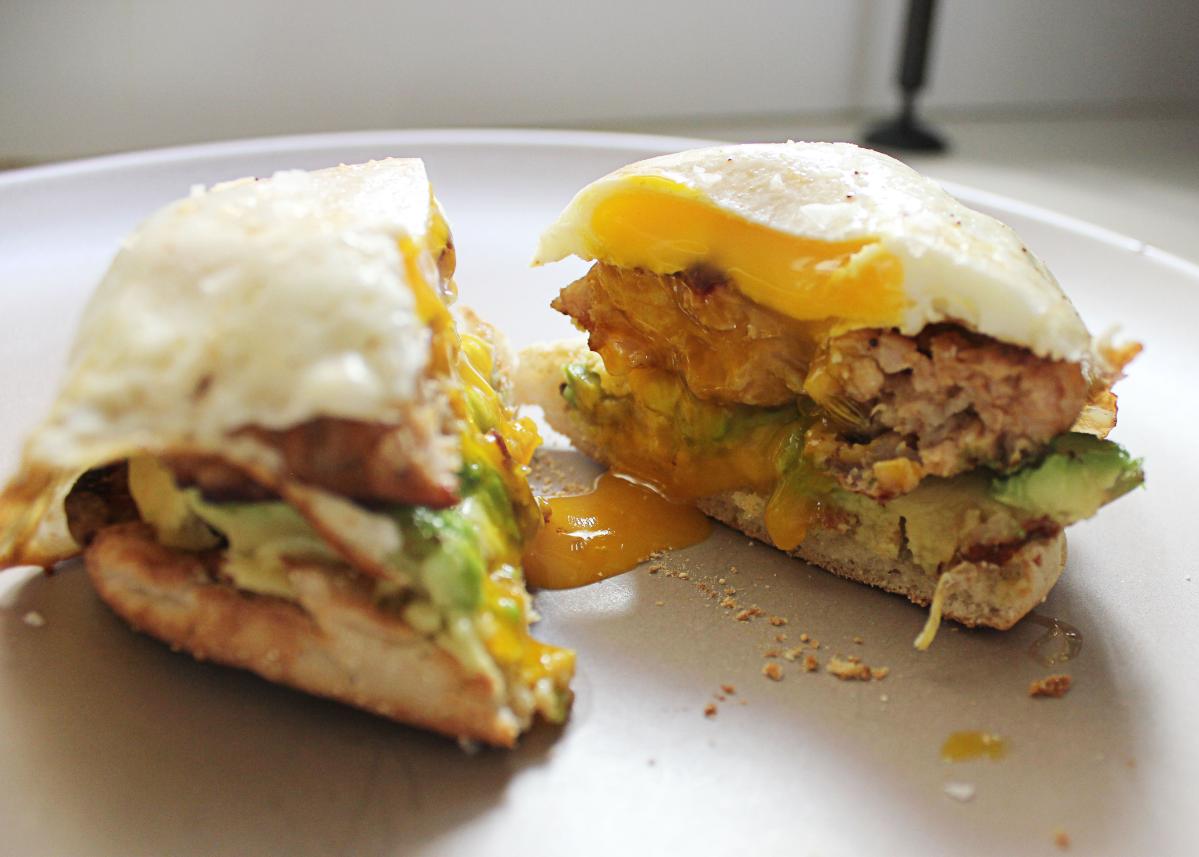 Chicken fennel sausage, avocado, egg open-face sandwich