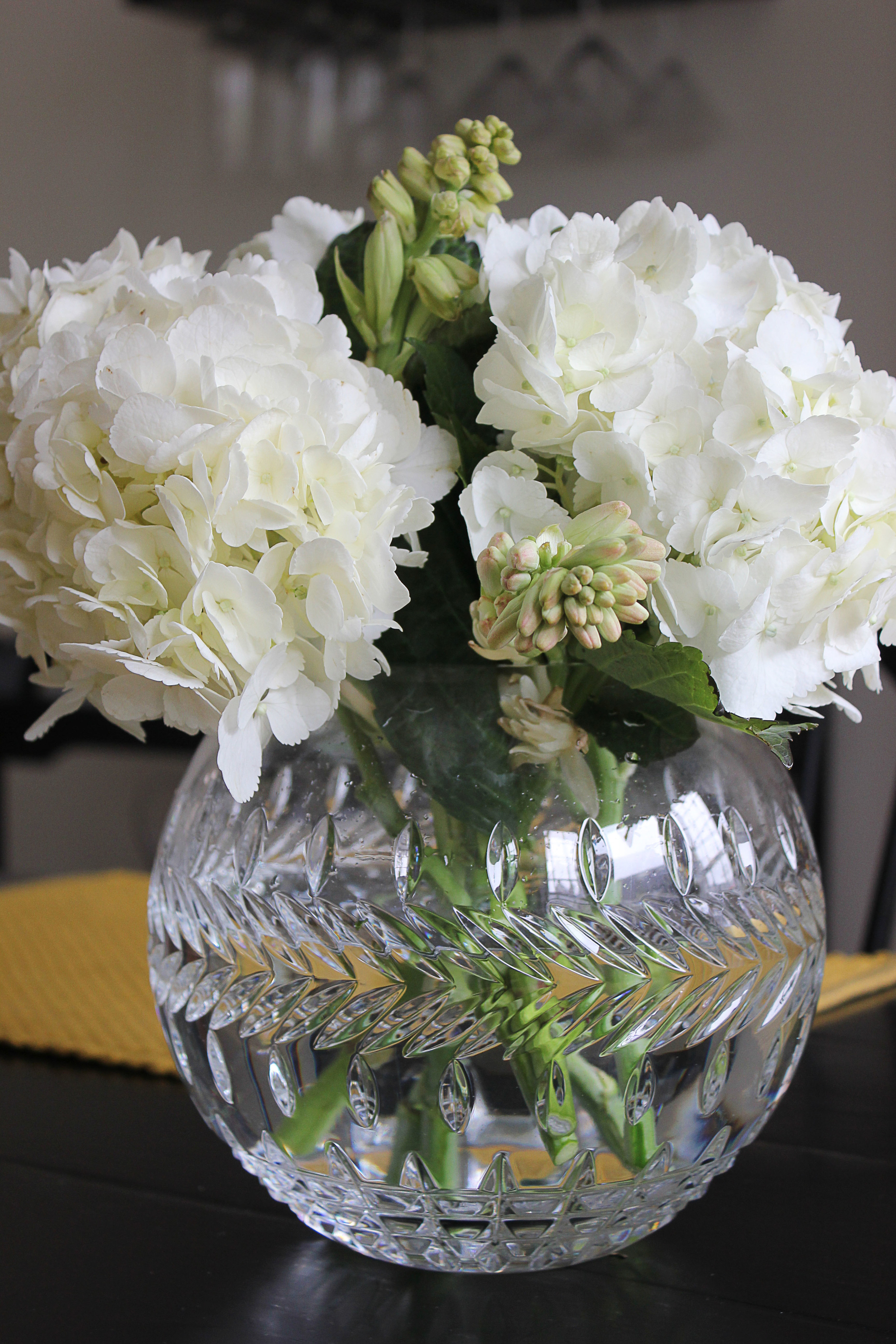 Hydrangea and tuberose arrangement in crystal