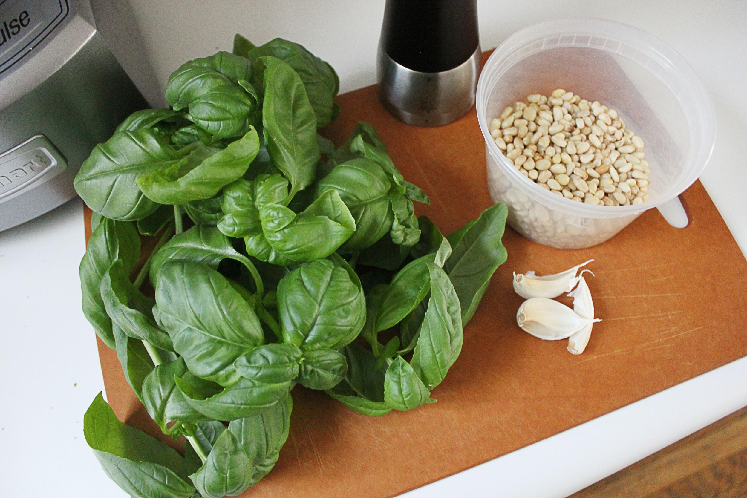 Michael Chiarello's basil pesto ingredients