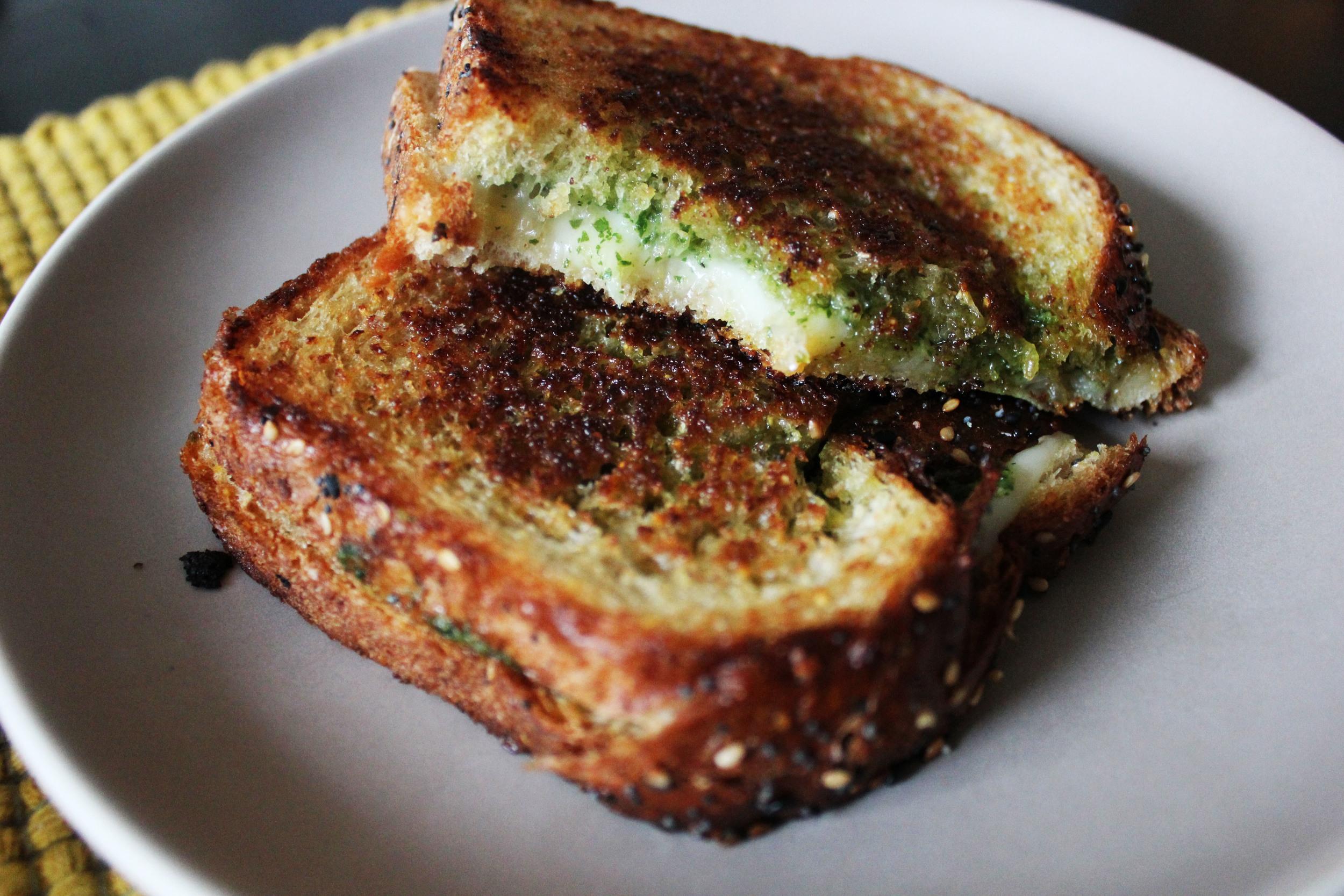 Basil pesto grilled cheese sandwich