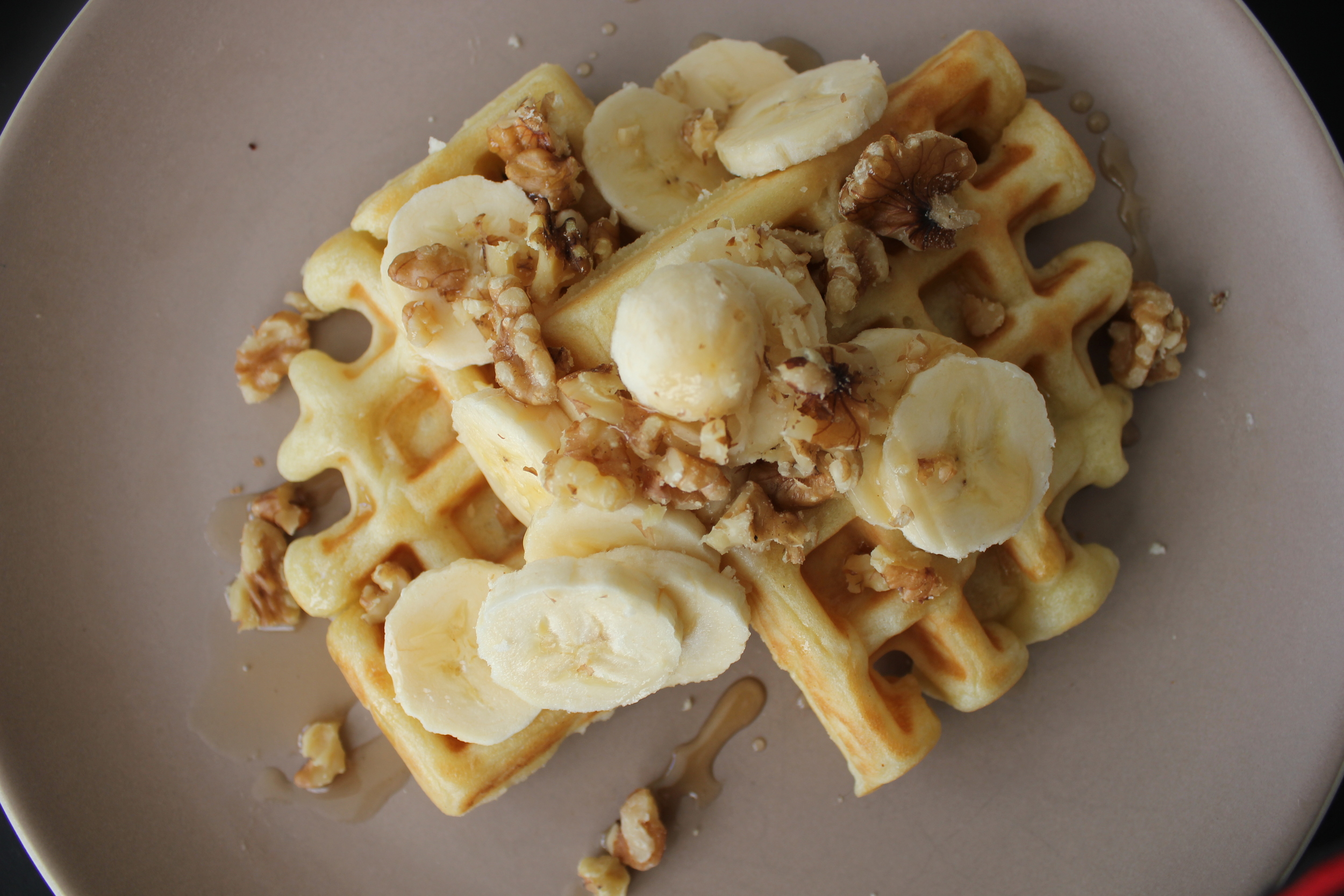 Bacon + Egg Waffles and Banana Walnut Waffles - Fancy Casual www.fancycasual.com