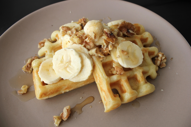 Bacon + Egg Waffles and Banana Walnut Waffles - Fancy Casual www.fancycasual.com