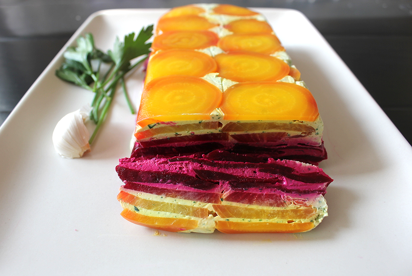 Beet, Goat Cheese and Garlic Herb Terrine by Hemsley + Hemsley - www.fancycasual.com