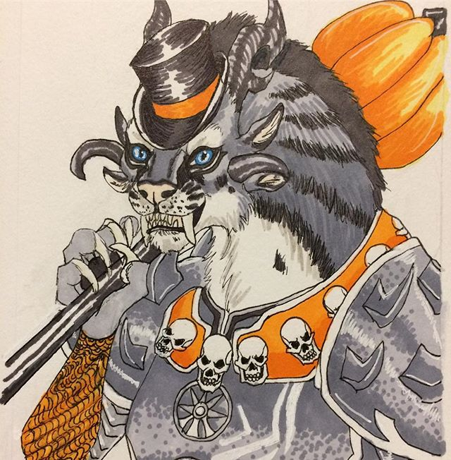 Inktober Day 10, getting into Guild Wars 2 again due to the new expansion and also eagerly awaiting the Halloween event, my Charr is getting festive! #inktober #inktober2017 #october10th #charr #guildwars2 #halloween #bloodlegion #prismacolormarkers