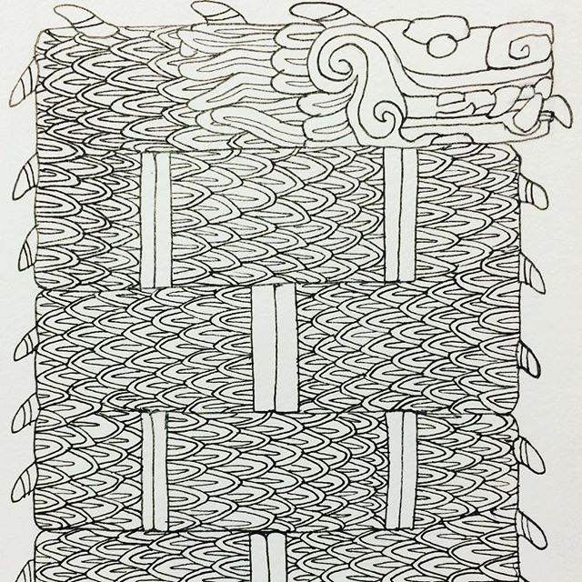 Inktober Day 8: Crooked sadly he was too long for Instagram to fit. #inktober2017 #inktober #october8th #crooked #aztecdragon #aztecserpent #micronpen #scales