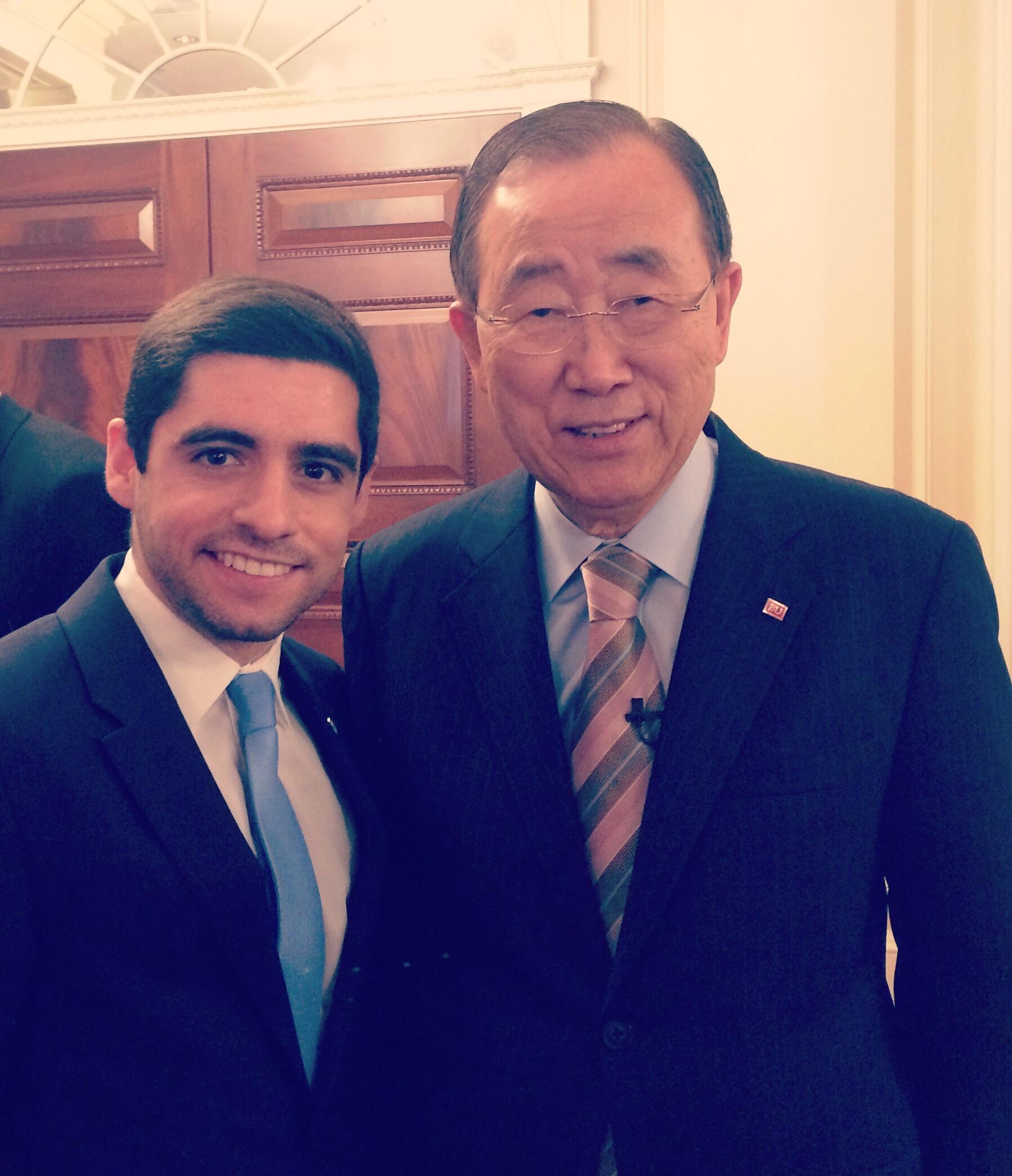 Sam Vaghar with H.E. Ban Ki-moon in Boston