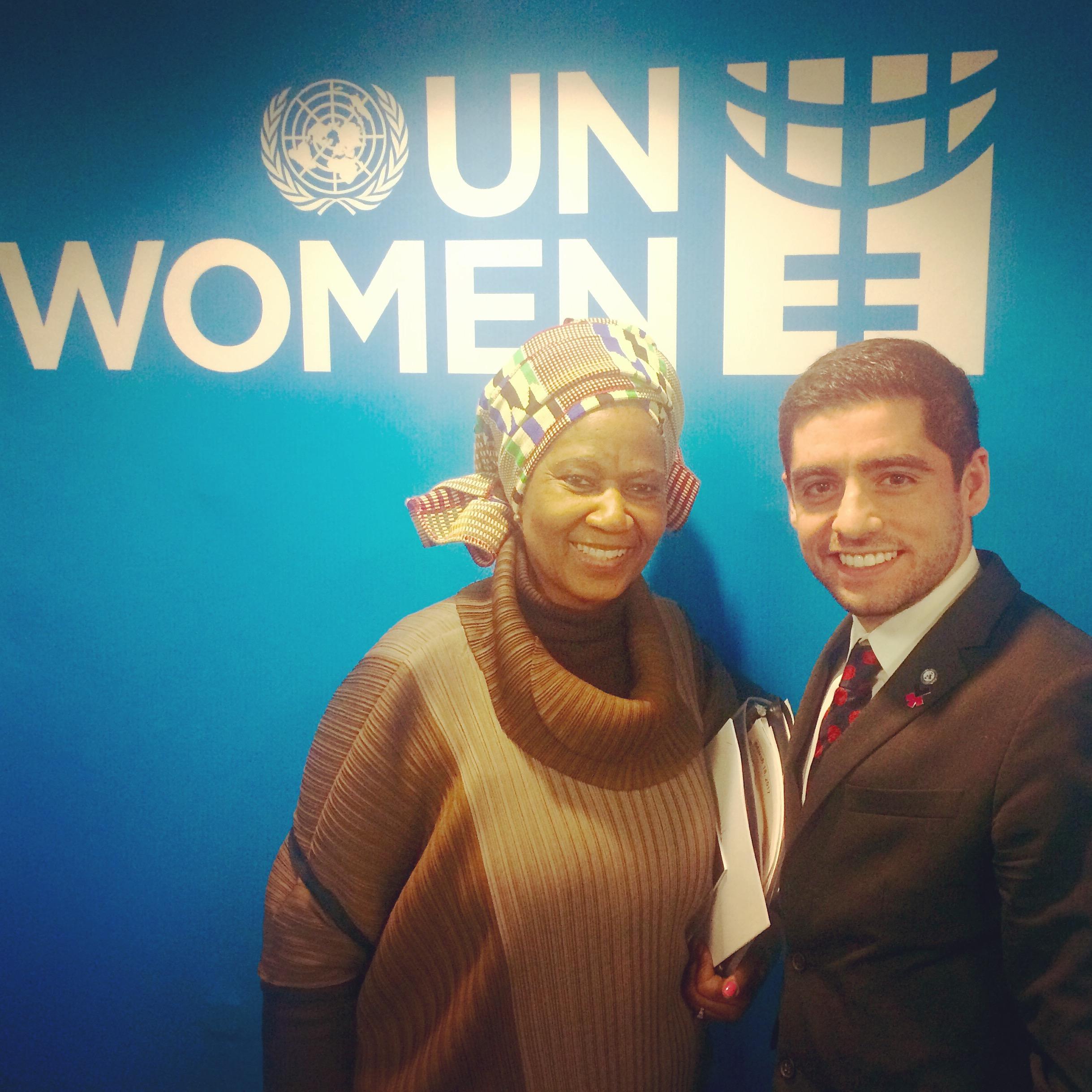 Sam Vaghar with H.E. Phumzile Mlambo-Ngucka, Executive Director of UN Women