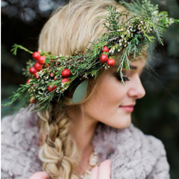 Flower crowns never go out of season, add pops of red to make it a winter favourite!  Photo: Magnolia Rouge